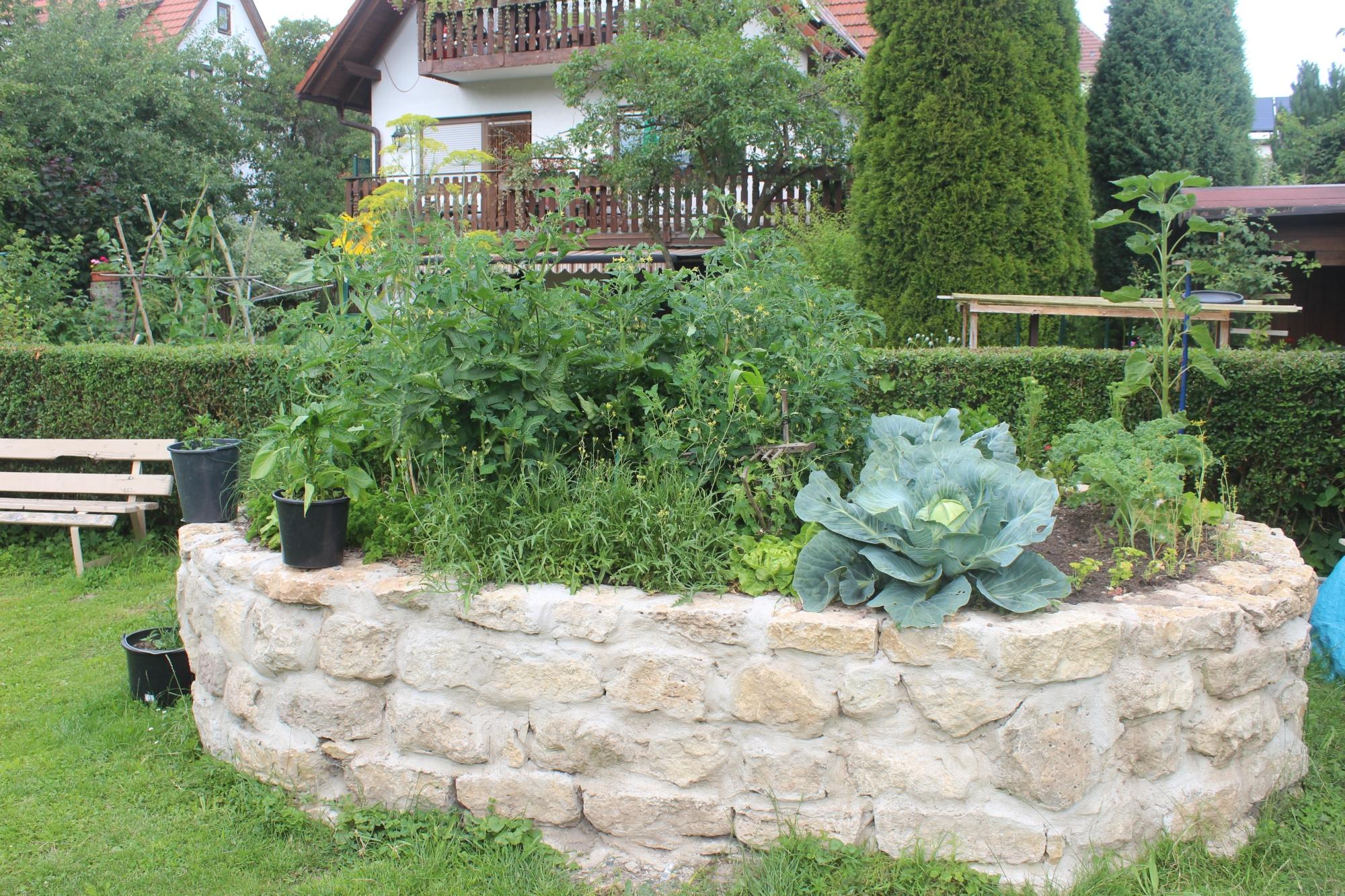 Wohnzimmerz Hochbeet Aus Stein With Sta Tzmauer Im Garten Zum